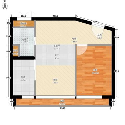 中弘北京像素1室1厅1卫1厨50.90㎡户型图