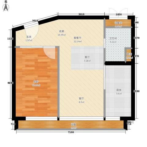 中弘北京像素1室1厅1卫1厨54.81㎡户型图