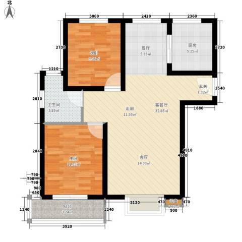 鼎旺国际社区2室1厅1卫1厨95.00㎡户型图