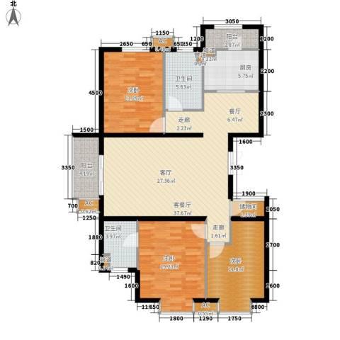 瑞雪春堂3室1厅2卫1厨136.00㎡户型图