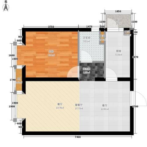 瑞雪春堂1室1厅1卫1厨72.00㎡户型图