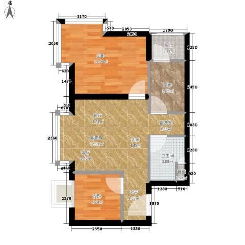兴豪门2室1厅1卫1厨60.00㎡户型图