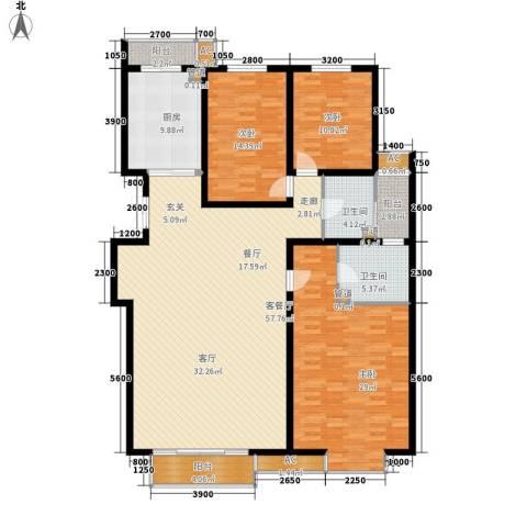 瑞雪春堂3室1厅2卫1厨181.00㎡户型图