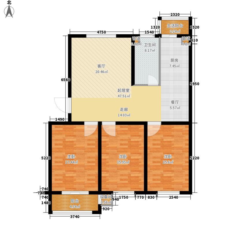 双湖锦苑116.00㎡A3户型3室2厅1卫1厨 116.00㎡户型3室2厅1卫