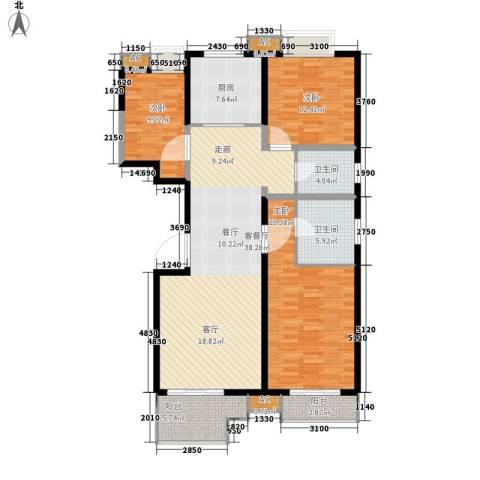 四季风景3室1厅2卫1厨122.00㎡户型图
