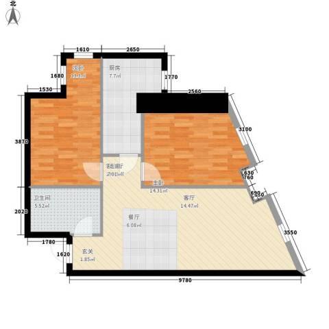 幸福逸家2室1厅1卫1厨80.00㎡户型图