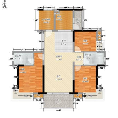 番禺云山诗意3室1厅2卫1厨111.00㎡户型图