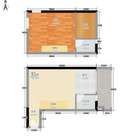 理想青年荟1室0厅2卫0厨67.00㎡户型图