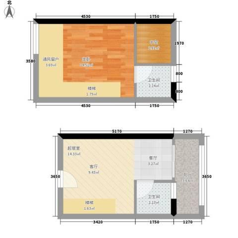 理想青年荟1室0厅2卫0厨46.00㎡户型图