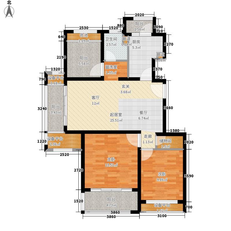 绿地21新城94.00㎡10、12号楼一梯二户户型
