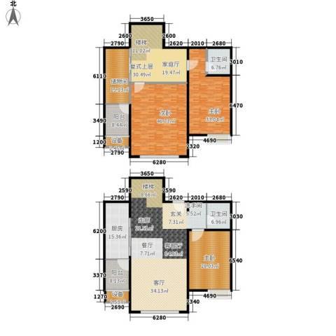 顺驰中央公馆3室1厅2卫1厨288.88㎡户型图