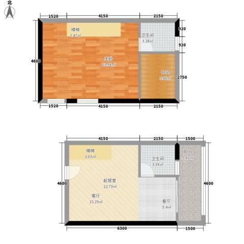 理想青年荟1室0厅2卫0厨64.06㎡户型图