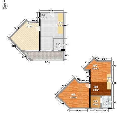 理想青年荟2室2厅1卫1厨89.75㎡户型图