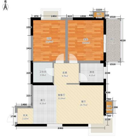 望庭国际2室1厅1卫1厨96.00㎡户型图
