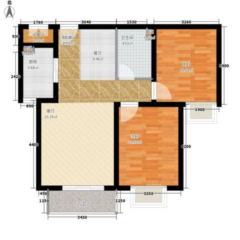 卓达星辰花园2室1厅1卫1厨92.00㎡户型图
