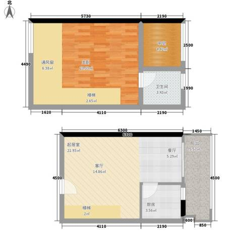 理想青年荟1室0厅1卫1厨62.25㎡户型图