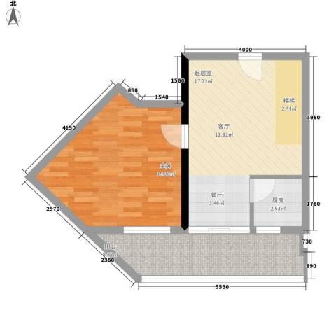 理想青年荟1室0厅0卫1厨75.00㎡户型图