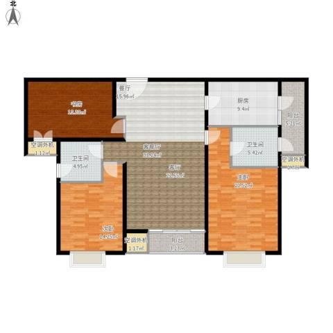 济宁建筑十策3室1厅2卫1厨166.00㎡户型图
