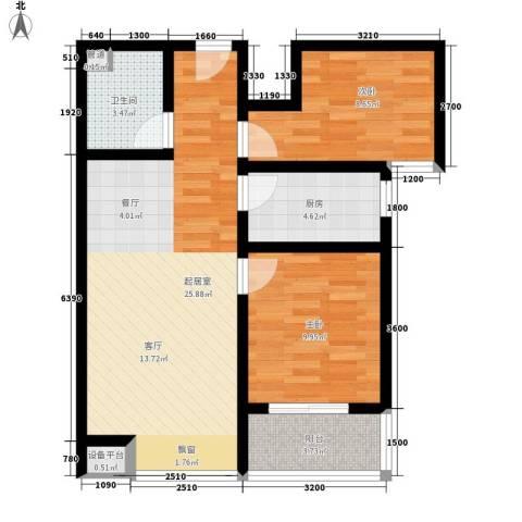 国风2室0厅1卫1厨84.00㎡户型图