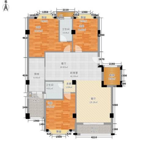 亚太新城3室0厅2卫1厨125.00㎡户型图