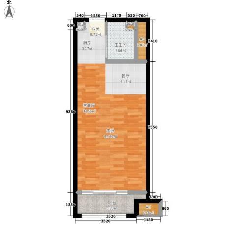 乐城半岛1厅1卫0厨53.00㎡户型图