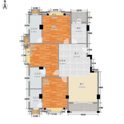 亚太新城3室0厅3卫1厨130.00㎡户型图