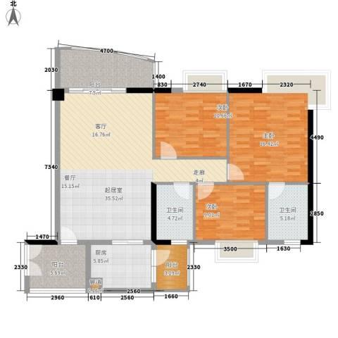 富力广场3室0厅2卫1厨114.00㎡户型图