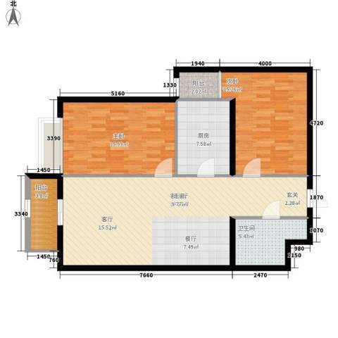 幸福逸家2室1厅1卫1厨95.00㎡户型图