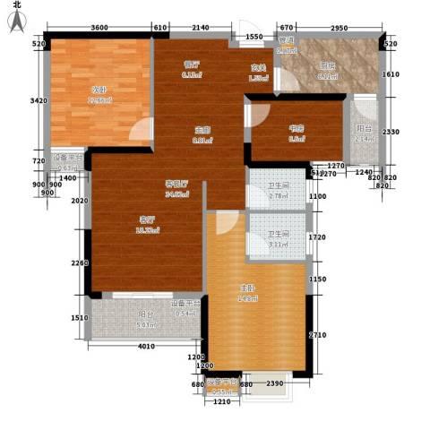 东城国际3室1厅2卫1厨121.00㎡户型图