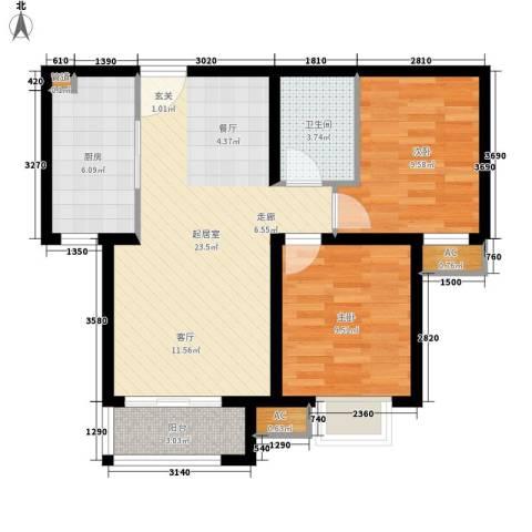 今北豪庭2室0厅1卫1厨83.00㎡户型图