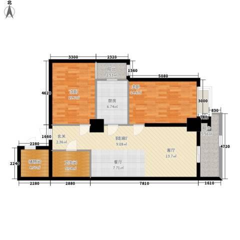 幸福逸家2室1厅1卫1厨98.00㎡户型图