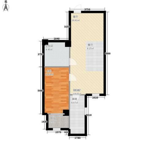 幸福逸家1室1厅1卫1厨67.00㎡户型图
