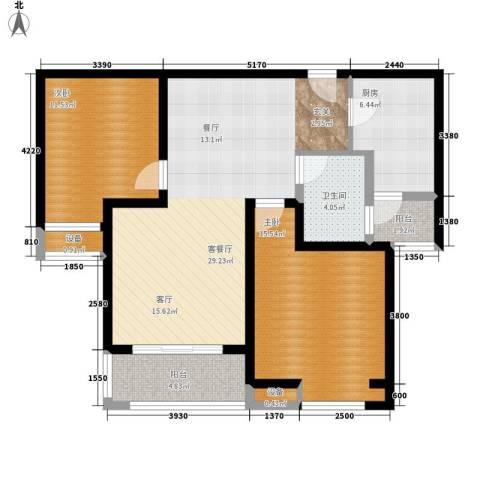 中海曲江碧林湾2室1厅1卫1厨89.00㎡户型图