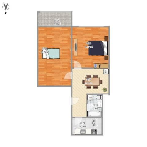平南一村2室1厅1卫1厨87.00㎡户型图