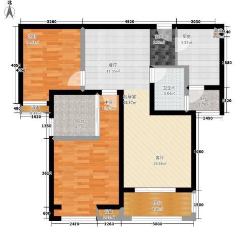 中海曲江碧林湾2室0厅1卫1厨98.00㎡户型图