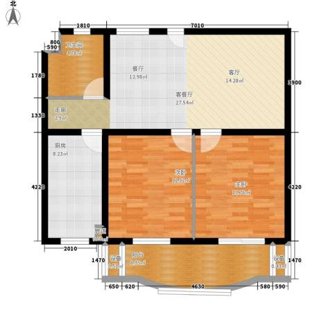 金裕青青家园2室1厅1卫1厨100.00㎡户型图