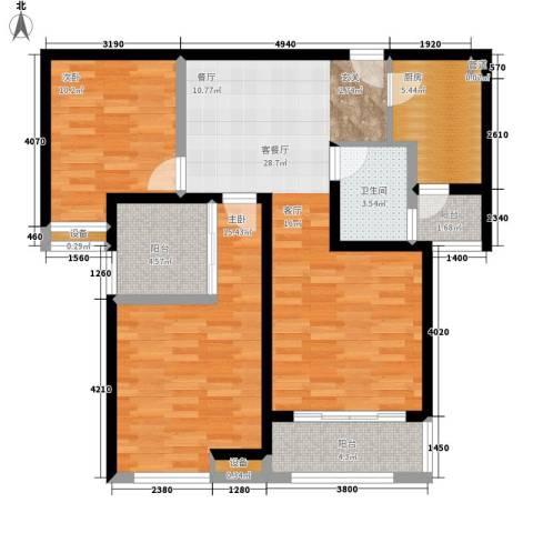 中海曲江碧林湾2室1厅1卫1厨96.00㎡户型图