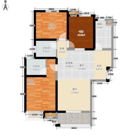 华清园小区3室0厅2卫1厨109.00㎡户型图