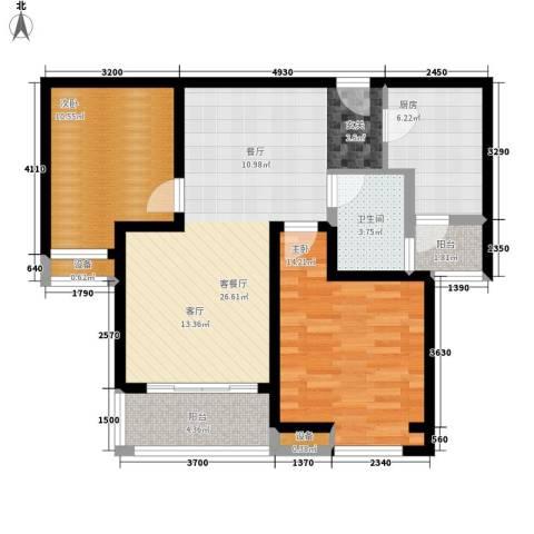 中海曲江碧林湾2室1厅1卫1厨87.00㎡户型图