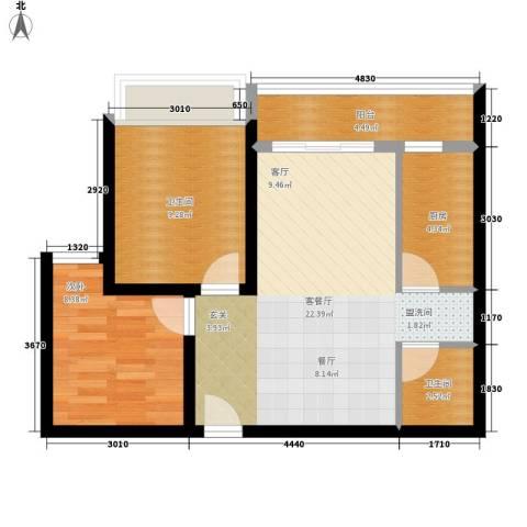 中海曲江碧林湾1室1厅2卫1厨67.00㎡户型图
