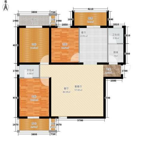 金裕青青家园3室1厅2卫2厨148.00㎡户型图