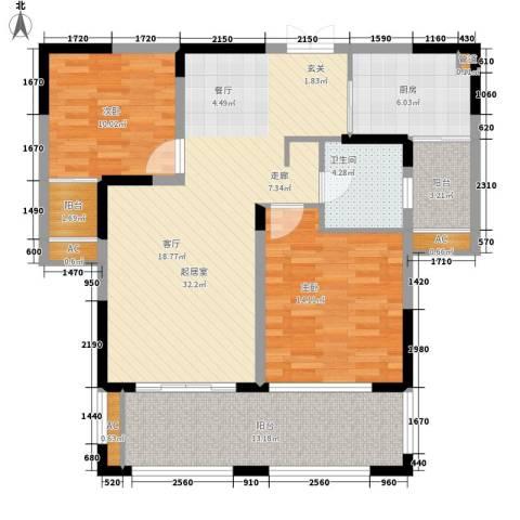金色地中海2室0厅1卫1厨100.00㎡户型图