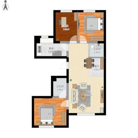 浑河湾3室1厅2卫1厨98.00㎡户型图