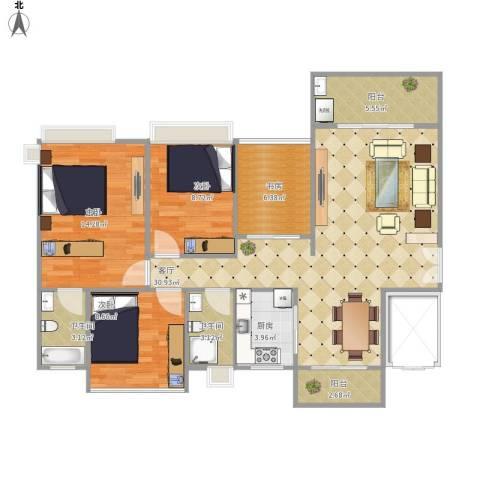 嘉宏公园1号4室1厅2卫1厨119.00㎡户型图