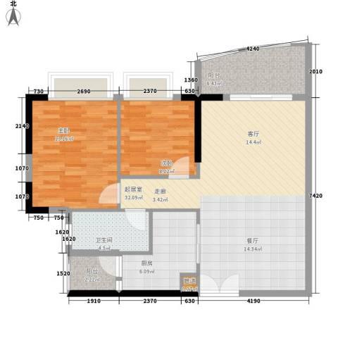 富力广场2室0厅1卫1厨81.00㎡户型图