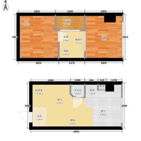 鑫秋大厦2室0厅2卫0厨51.00㎡户型图