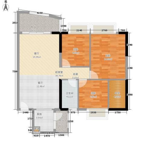 富力广场3室0厅1卫1厨92.00㎡户型图