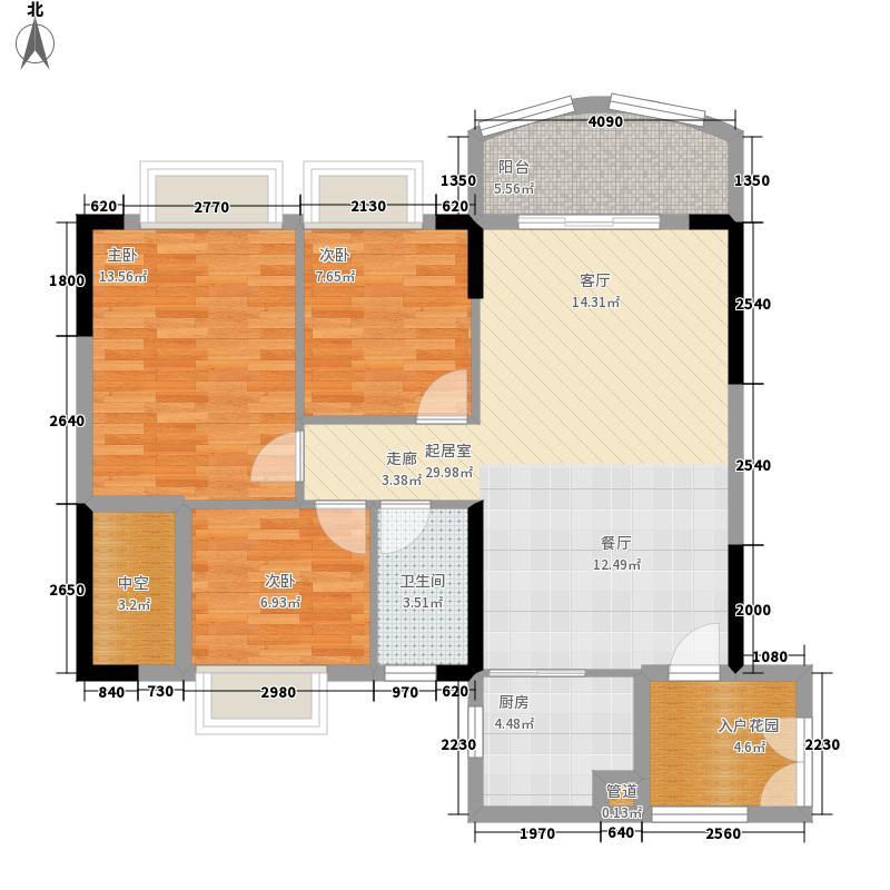 富力广场92.00㎡S2栋5-13层04单面积9200m户型