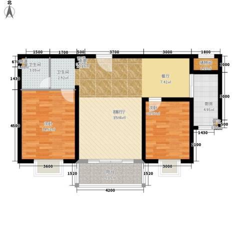 卓达星辰花园2室1厅1卫1厨111.00㎡户型图