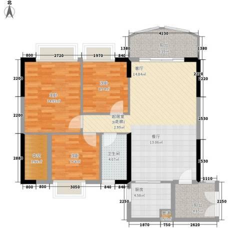 富力广场3室0厅1卫1厨95.00㎡户型图